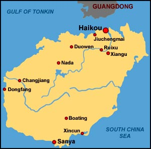 Carte Hainan Chine