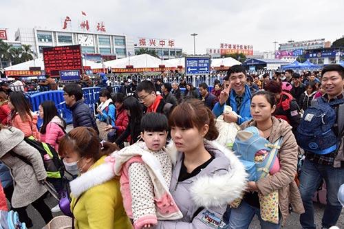 Passagers bloqués à la Gare de Guangzhou
